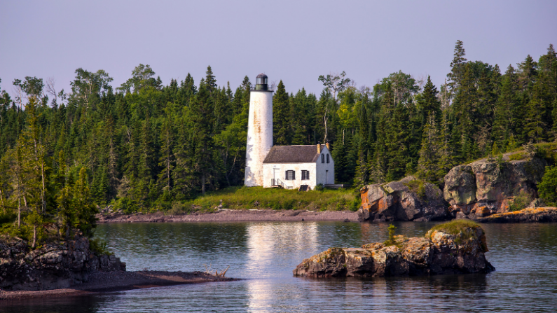 White lighthouse surrounded by trees