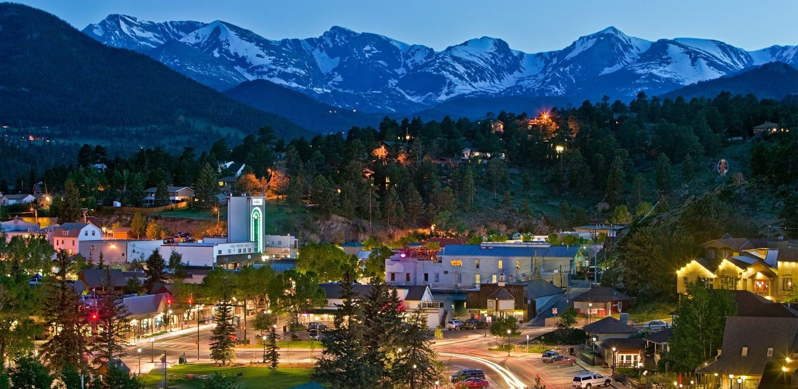 Photo of downtown Estes Park at twilight.