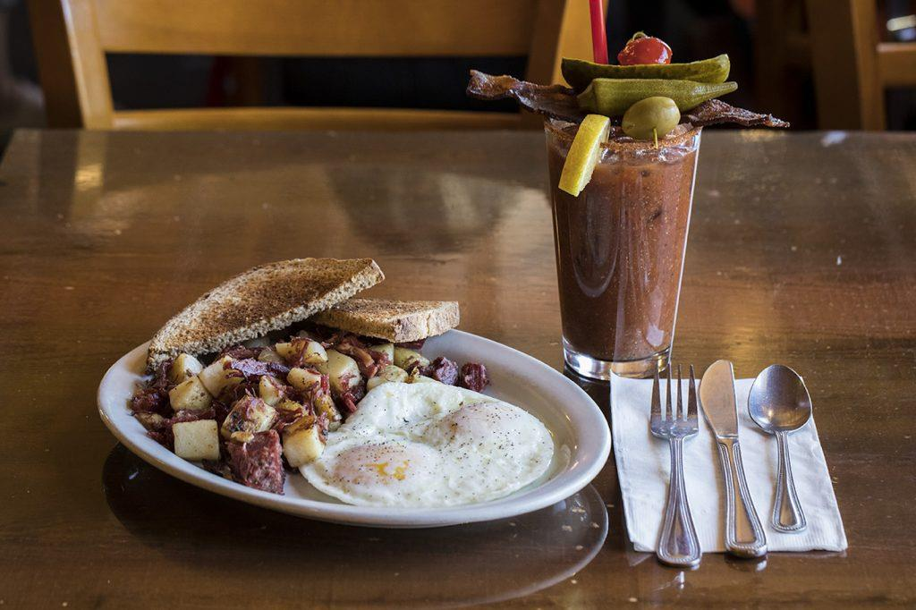 hash, eggs, toast, and bloody mary