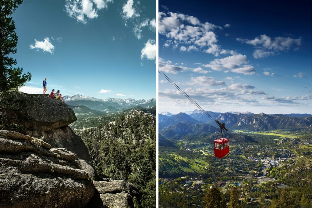 Hikers on a rock and aerial tram above Estes Park.