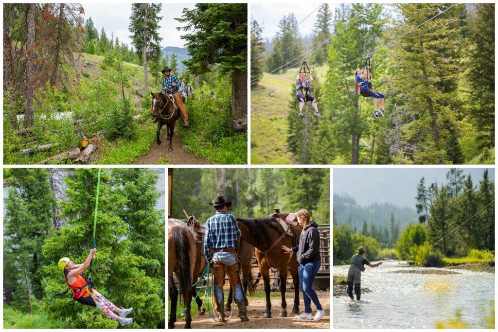 horse back riding, ziplining, fly fishing, hiking, yellowstone