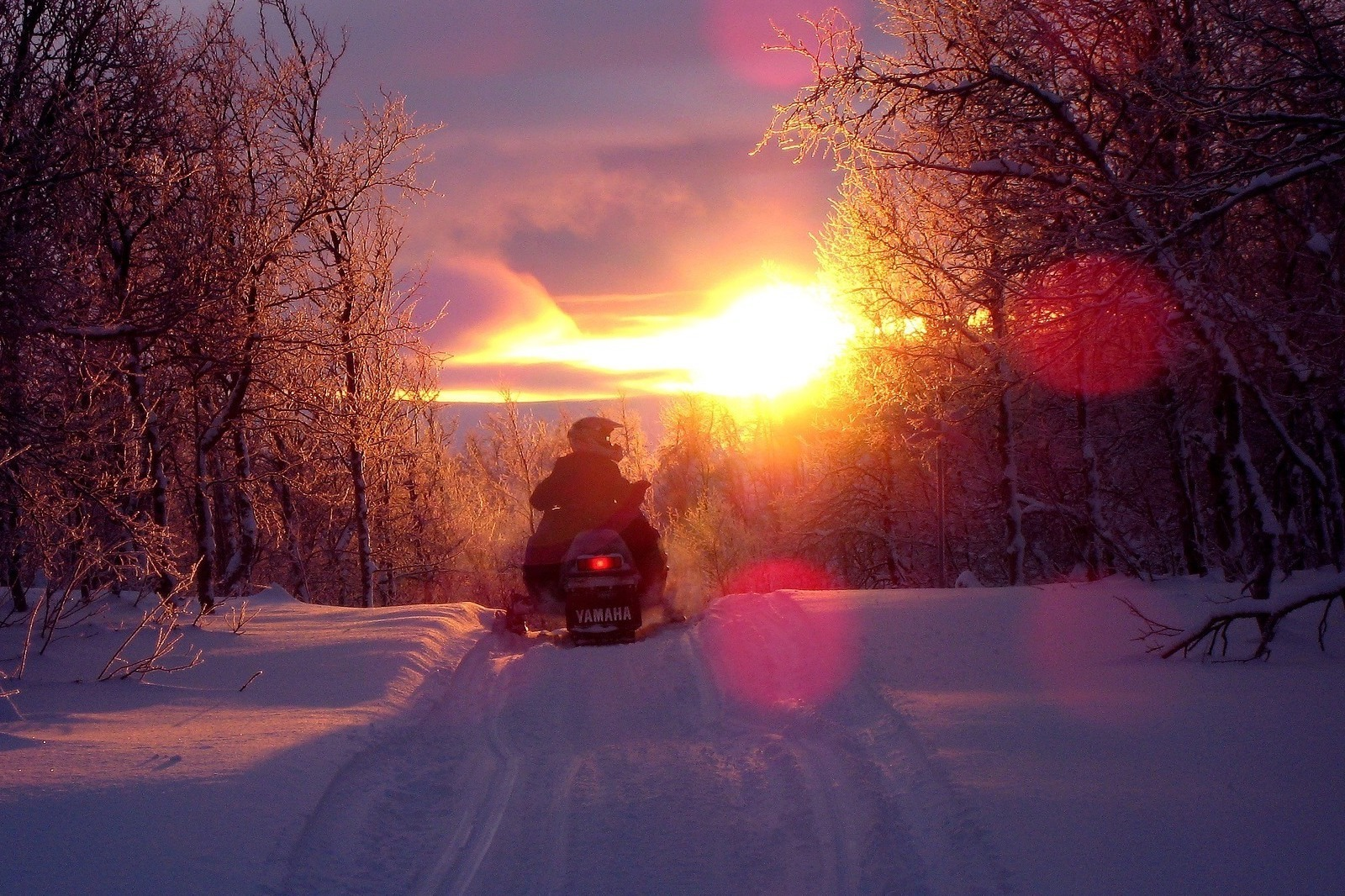 snowmobile in winter in yellowstone at sunset