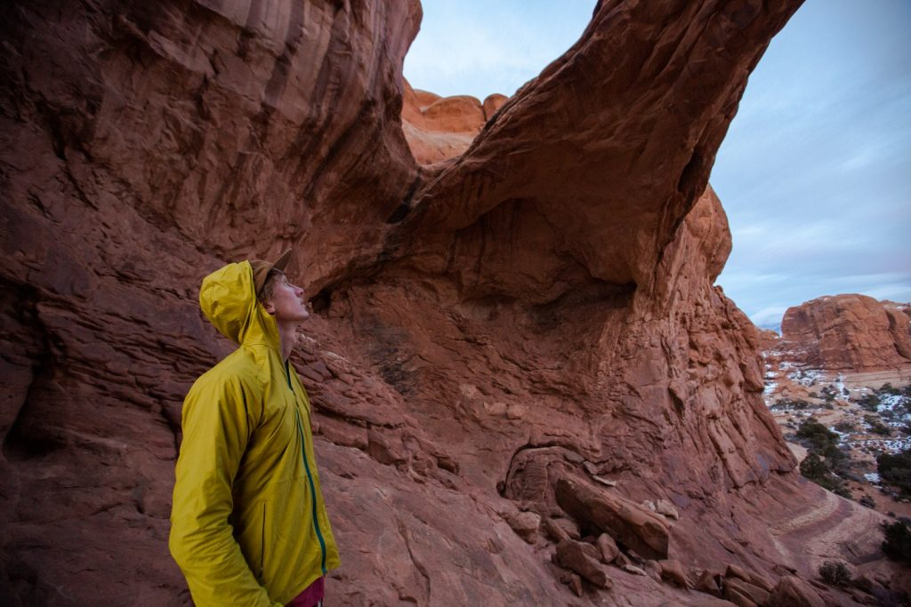 Lucas looking up at Double Arch