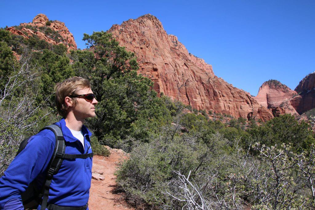 Kolob Canyons, Zion National Park, hiking, Kyle pointing