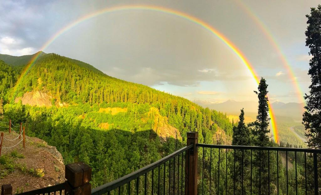 Rainbow stretched over Denali National Park