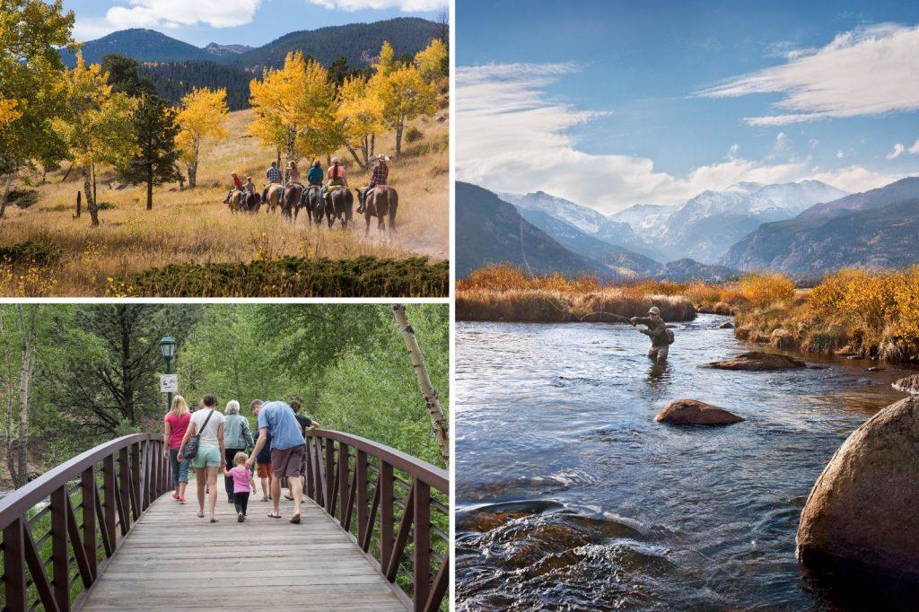 Collage of horseback riding, fishing and walking.