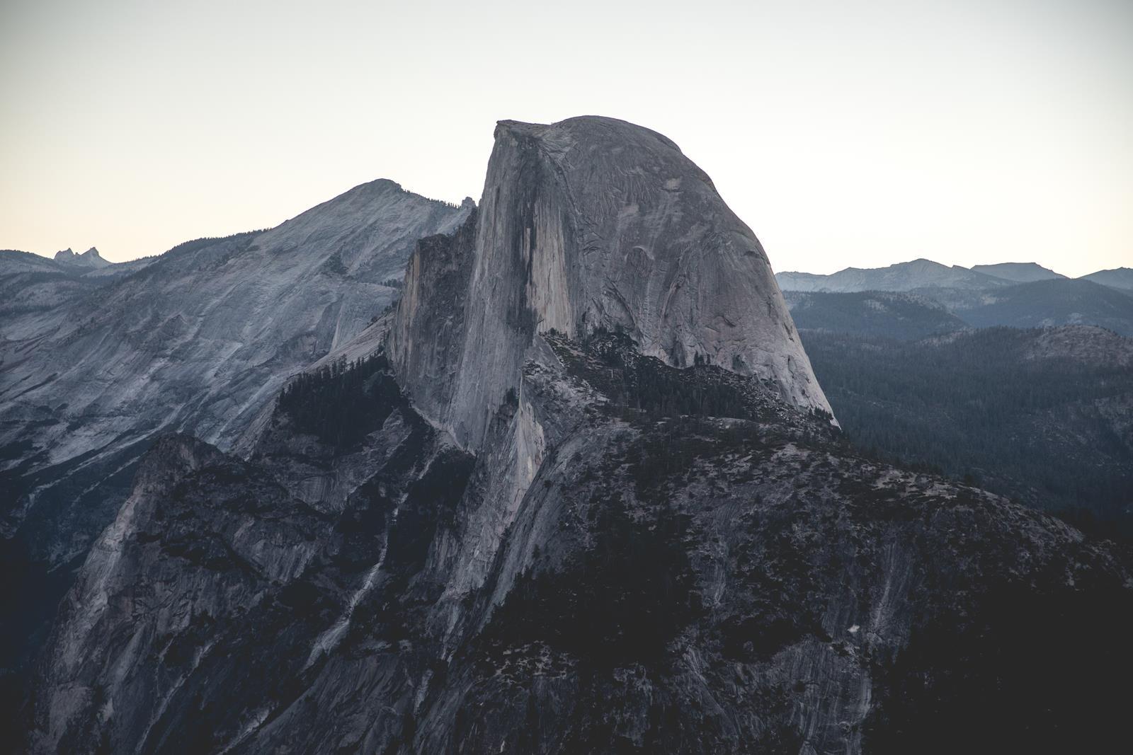 Half Dome in Yosemite National Park at dusk.