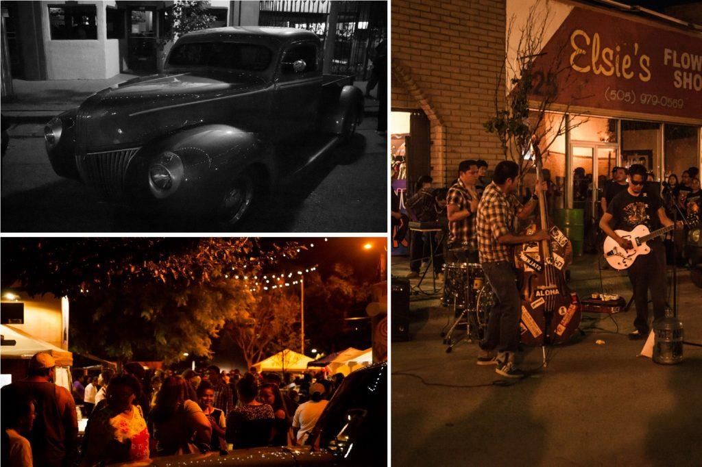 Nightlife during night of car show at the gallup indian ceremonial event