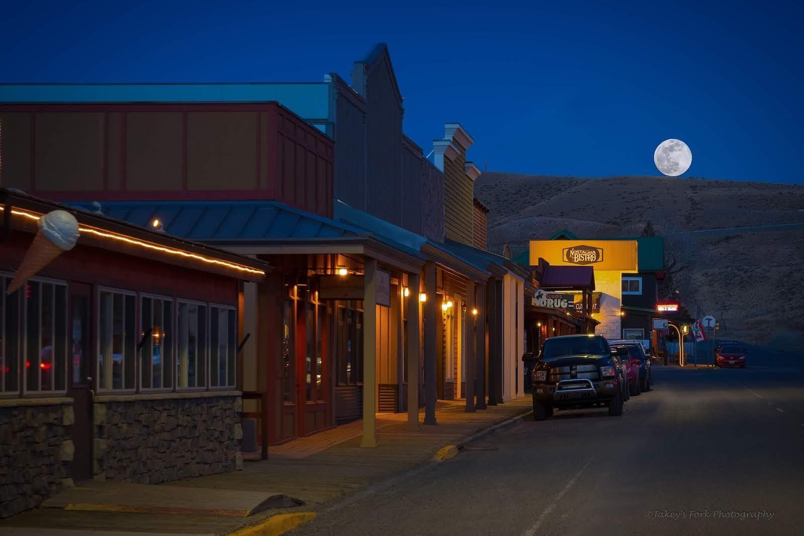 full moon over main street in Dubois, Wyoing