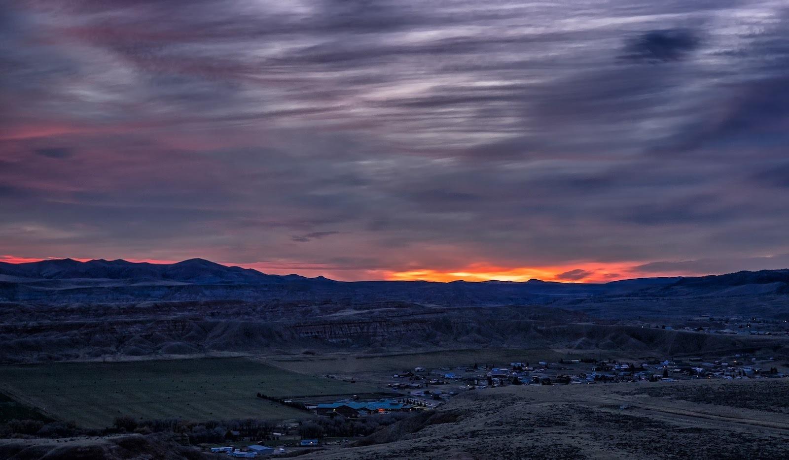 Sunrise over Dubois, Wyoming, as seen from the Dubois Overlook