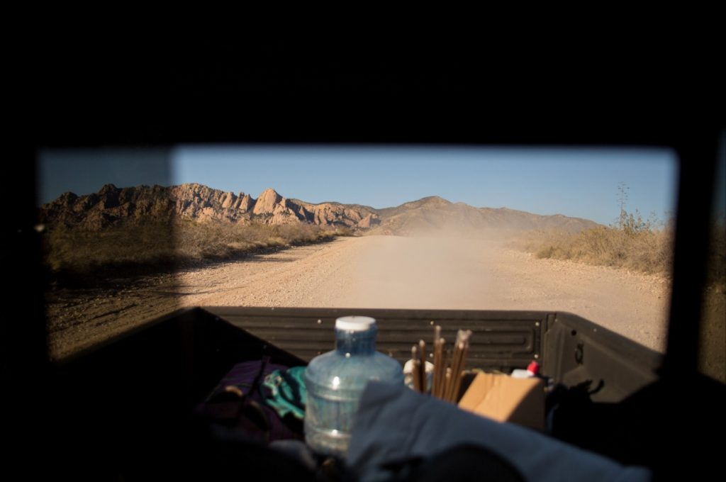 Driving down a dirt road in the Dragoon Mountains.