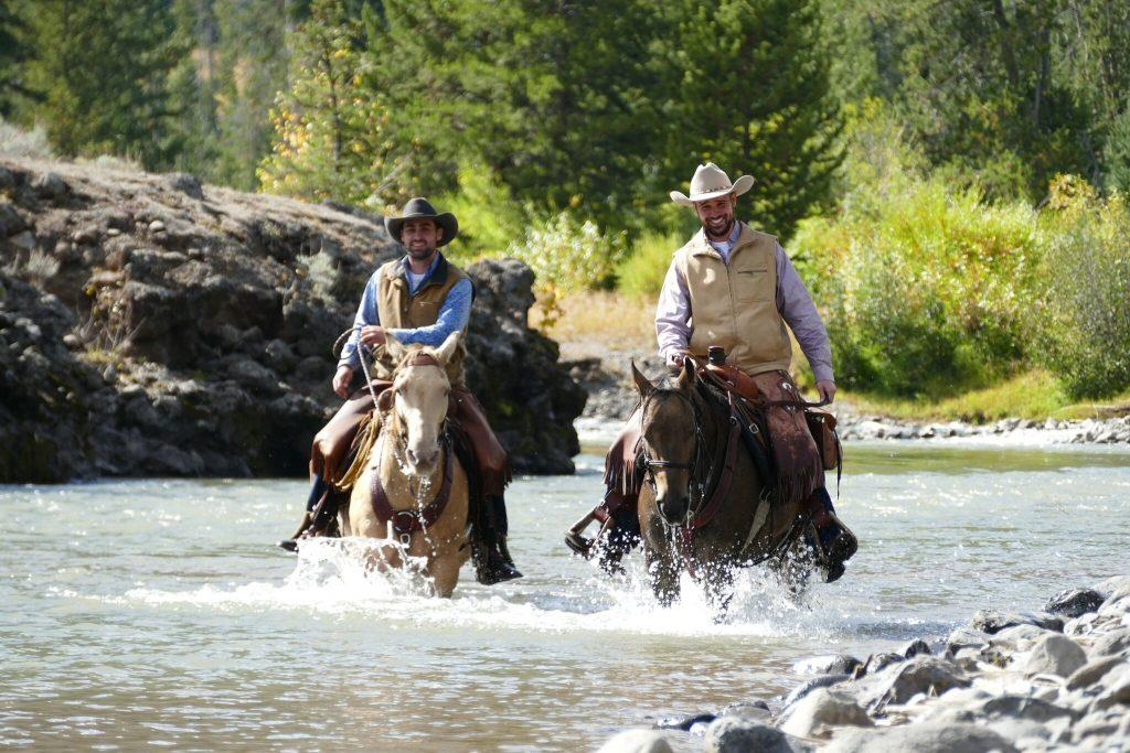 horseback riding, cowboys, river