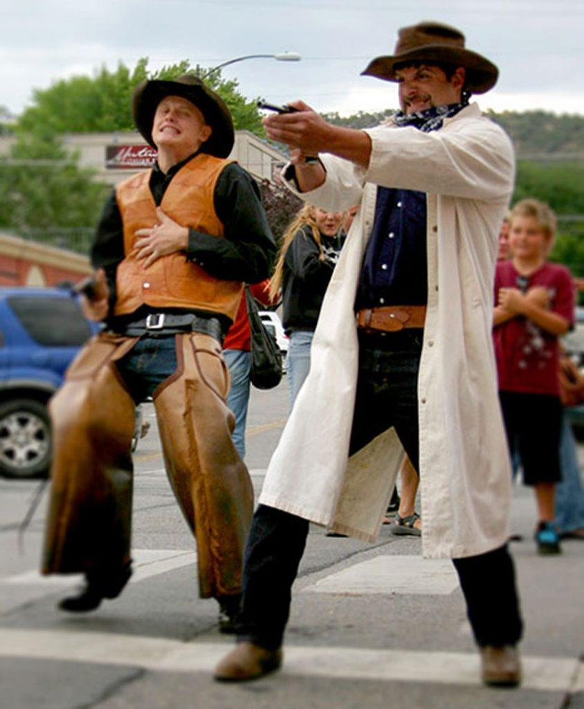 Cowboy gunfight show Strater Hotel Durango Colorado