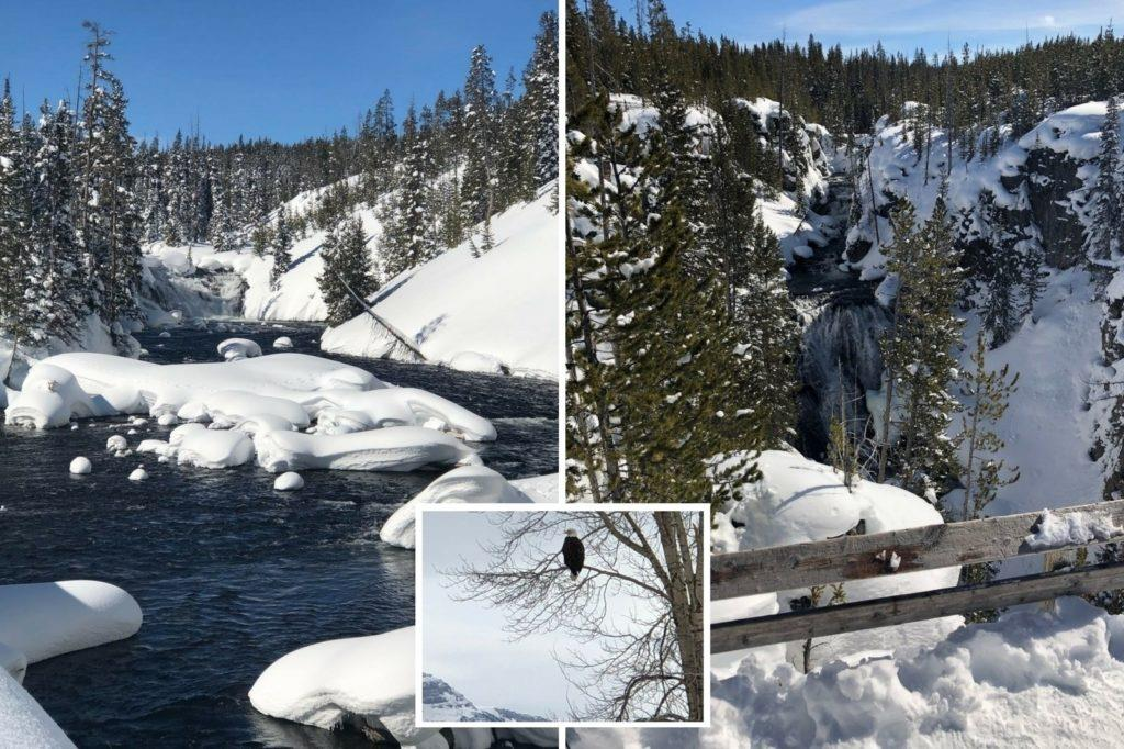 Views while snowmobiling and after