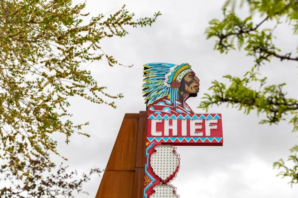 Chief Theater neon sign, revitalized as part of the Relight the Night project in Pocatello, Idaho