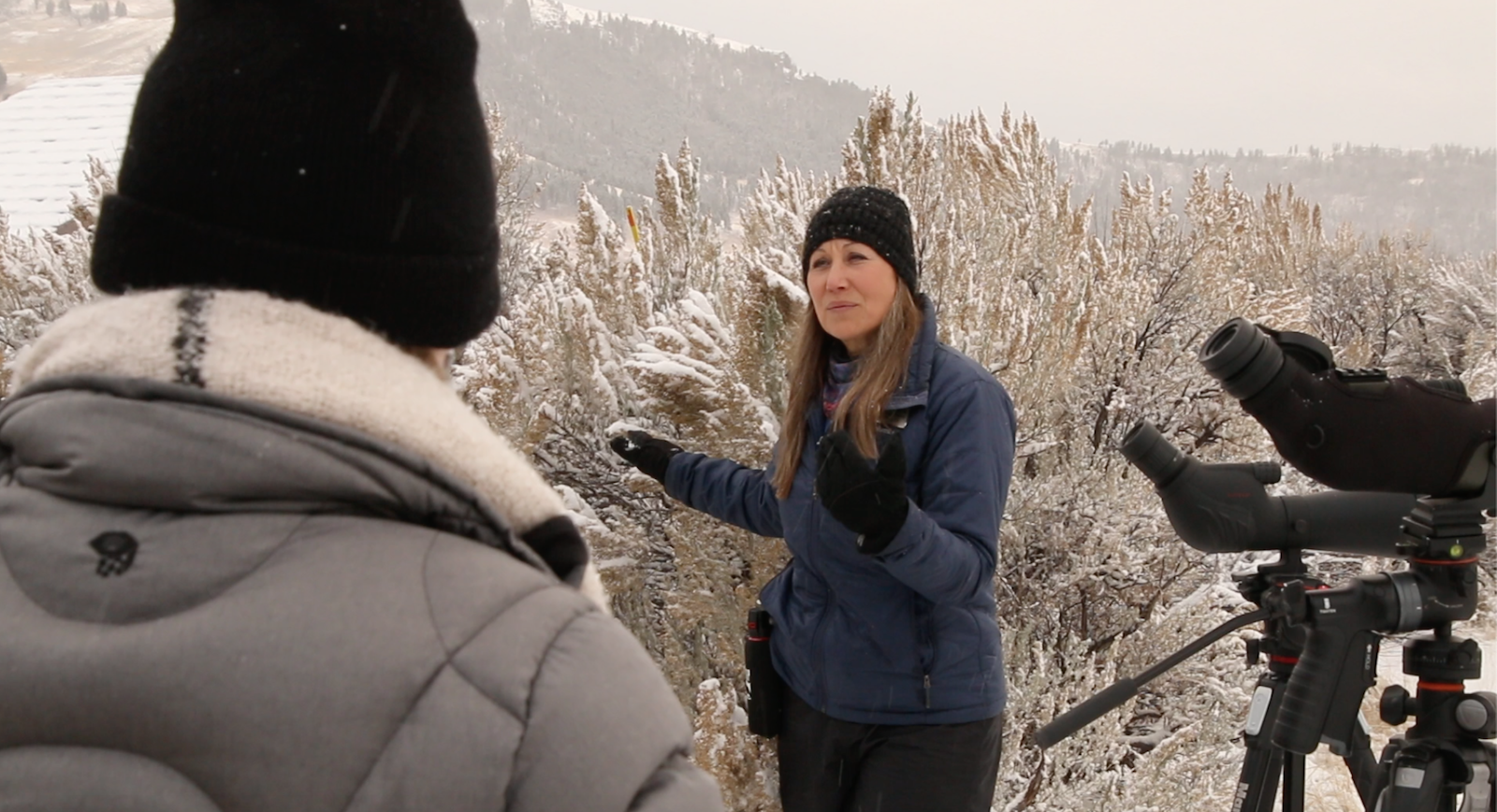 Guide Audra speaking during a Yellowstone wildlife tour in the winter