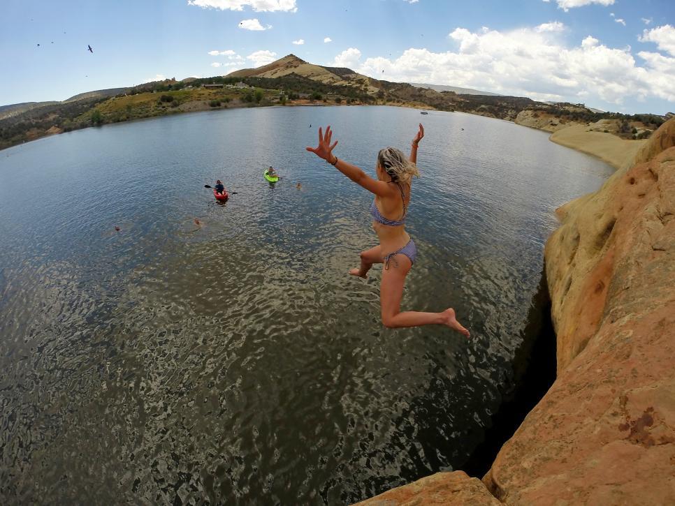 Cliff jumping in Red Fleet State Park near Vernal, Utah