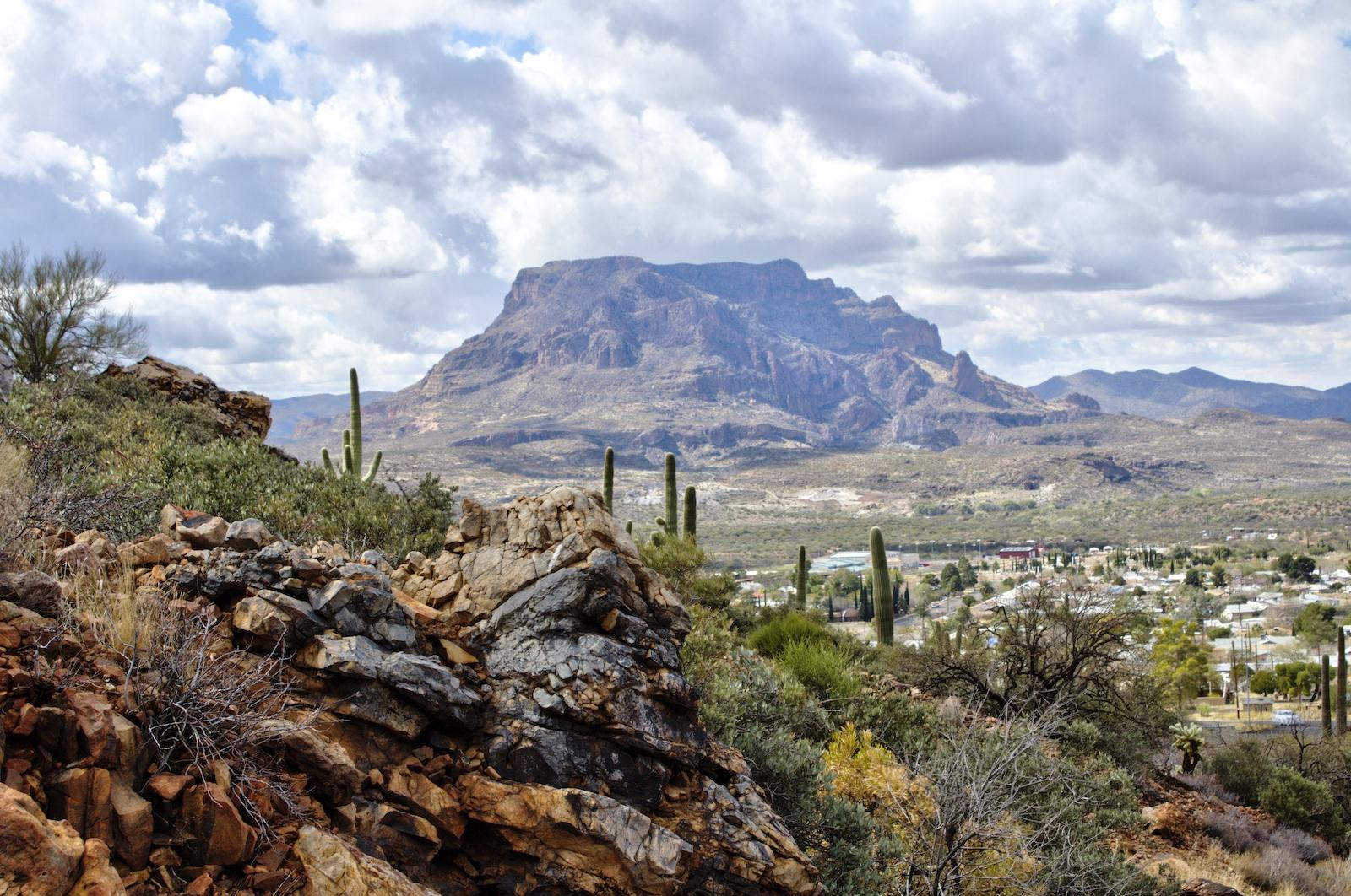 View of Superior, Arizona and Picketpost Mountain