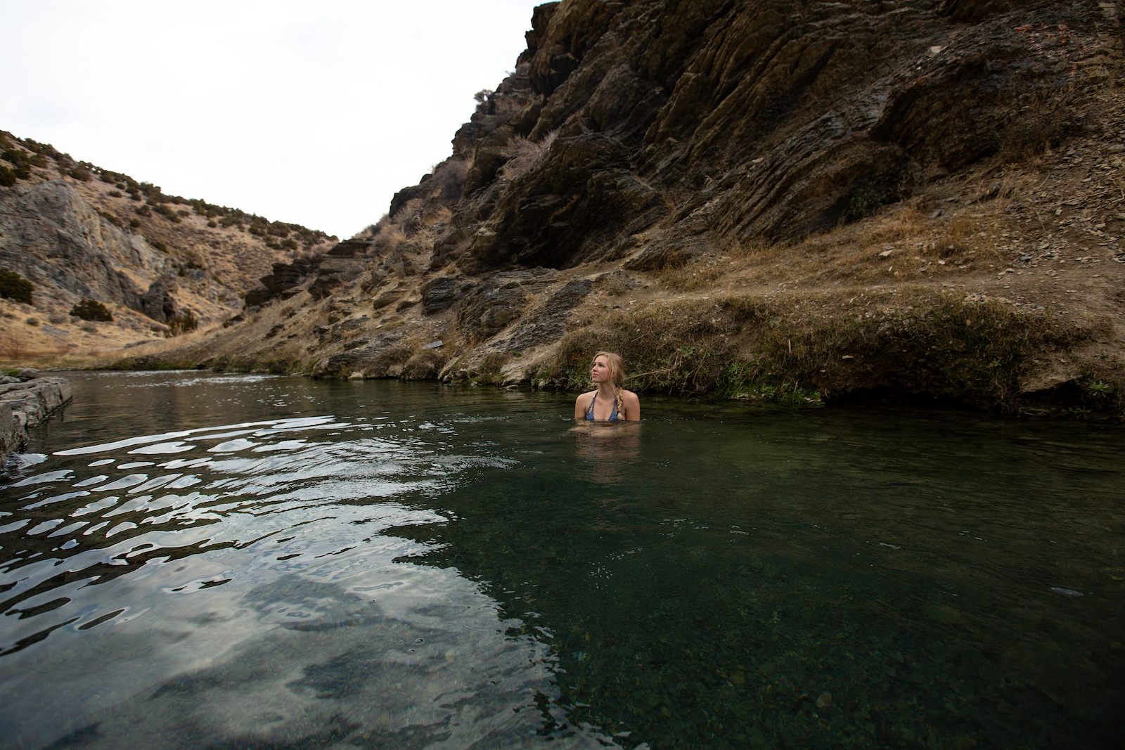 Woman in 12-Mile Hot Springs in Nevada's Cowboy Country