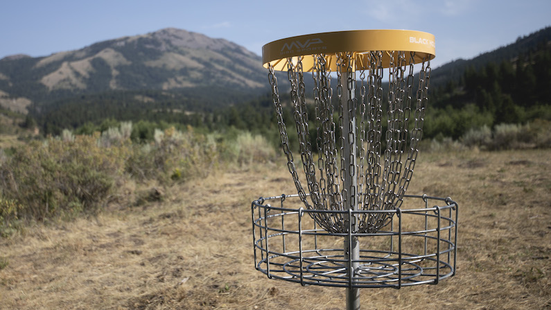 Disc golf basket in Pocatello, Idaho