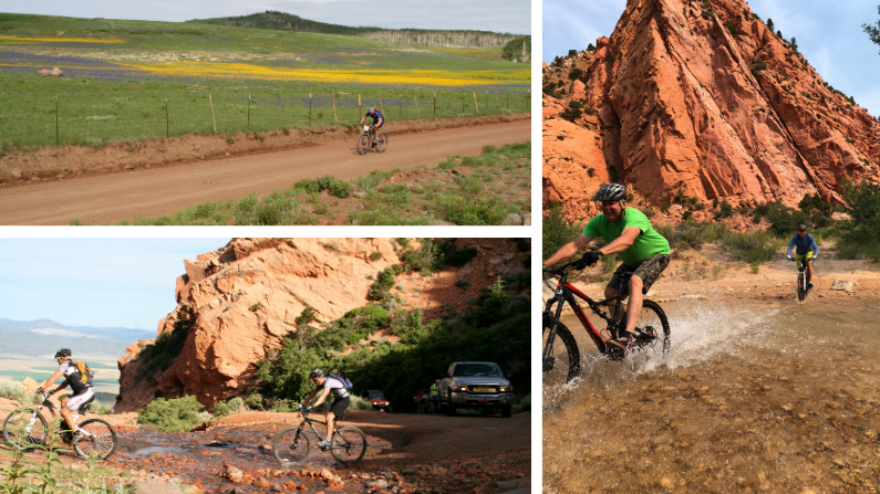 Collage of Cedar City cycling images