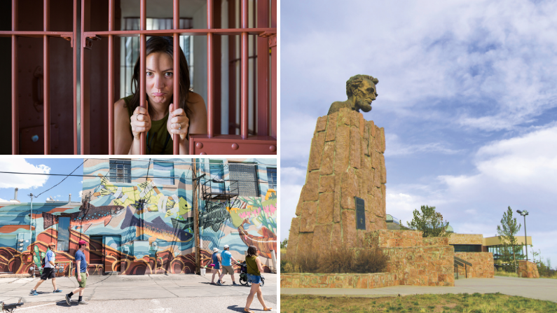 Collage of museums, art, and monuments in Laramie, Wyoming
