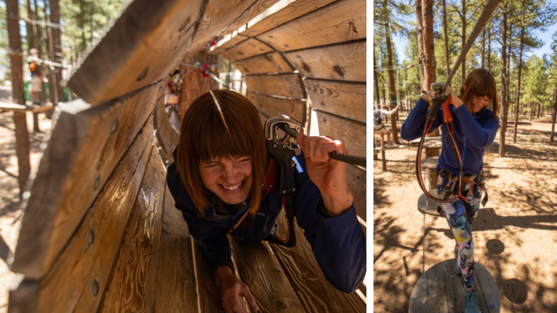 woman playing on a high ropes course