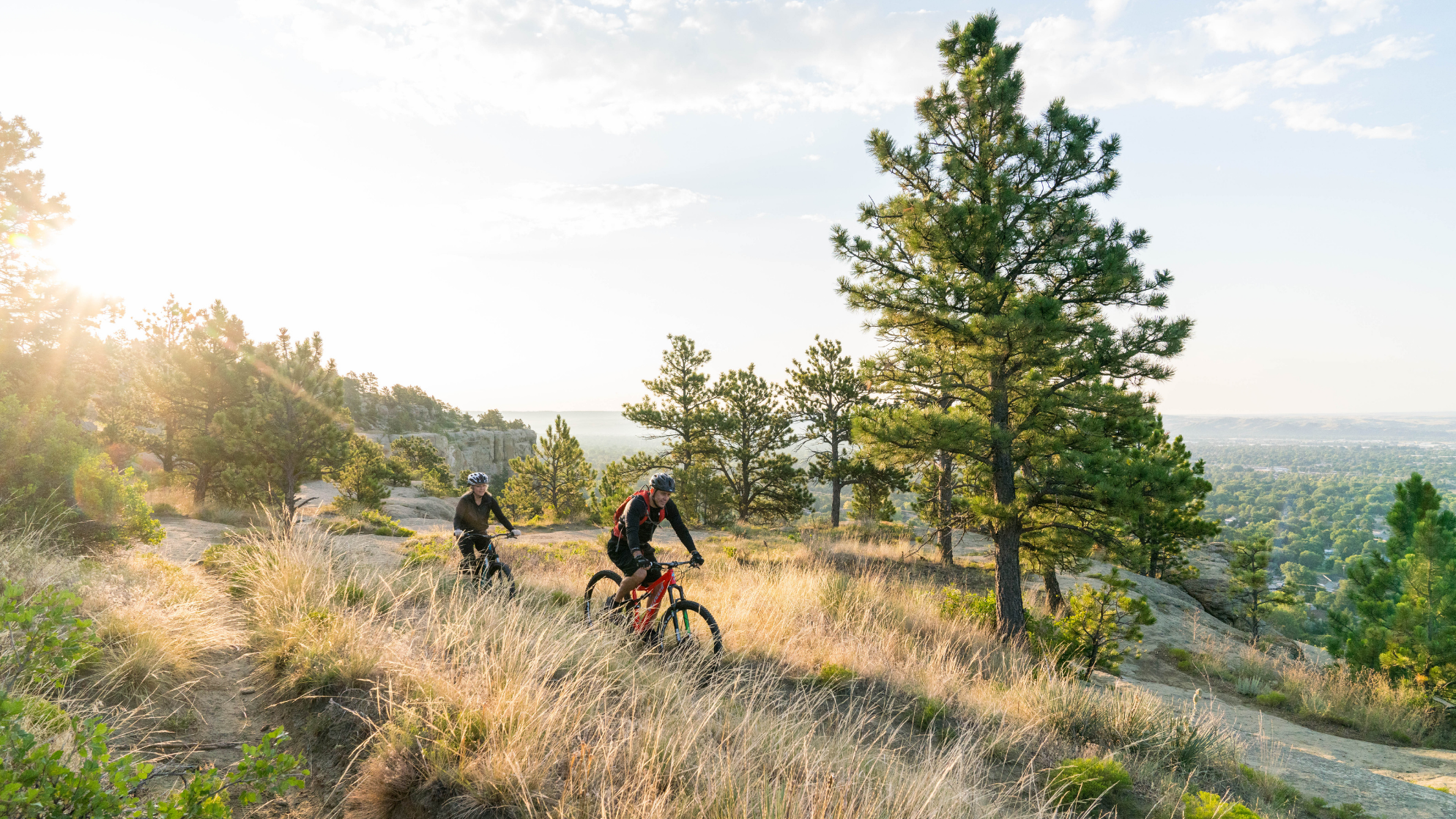 Two people mountain biking in Billings, Montana
