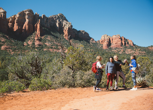 Group of hikers chatting on the trail in Arizona