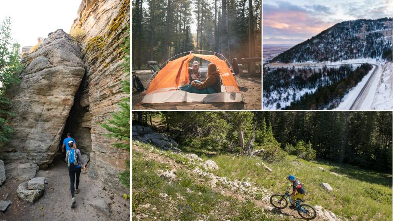 Collage of activities on Casper Mountain