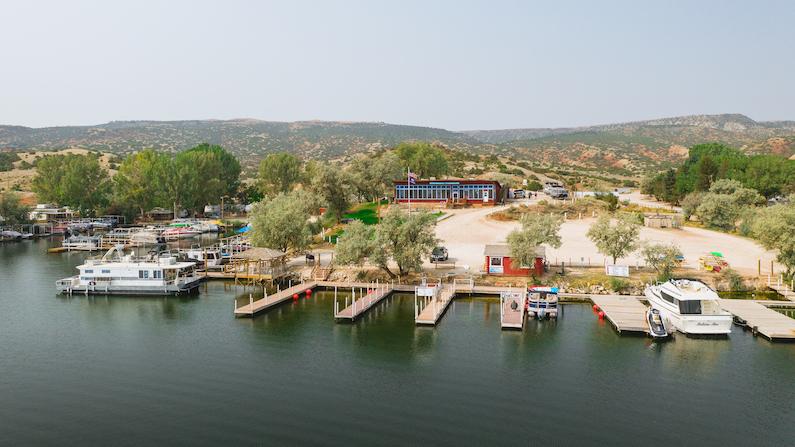 Aerial view of Alcova Resort near Casper, Wyoming