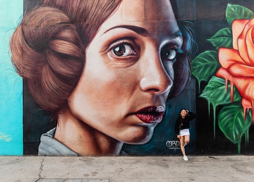 Person in front of mural in Modesto, CA