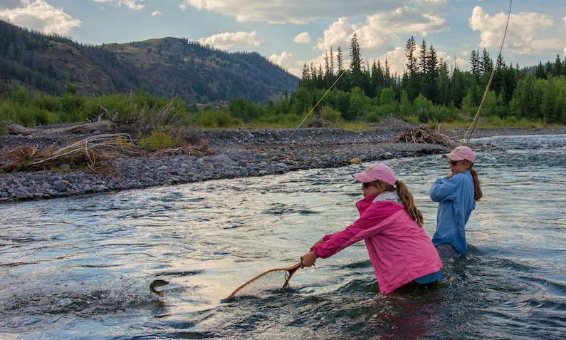 Scott Copeland, Two girls Fly Fishing in Wiggins Valley