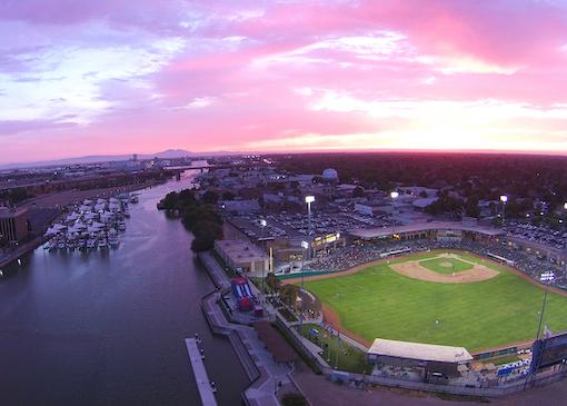 Baseball fields at sunset in Fresno