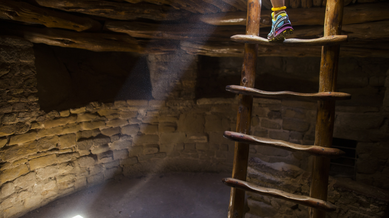 Ladder and foot in Mesa Verde National Park cliff dwelling