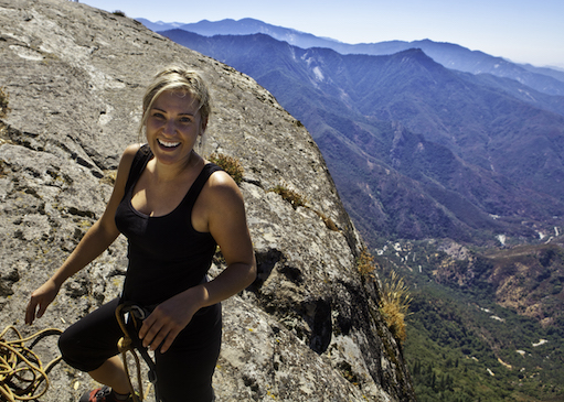 Woman climbing in Sequoia National Park, Central Valley, California