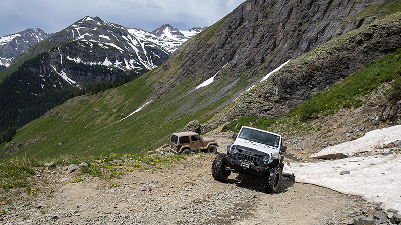 Jeeps on dirt road in Southwest Colorado